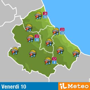 Previsioni meteo Abruzzo venerdì 10 Giugno