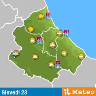 Previsioni meteo Abruzzo giovedì 23 giugno