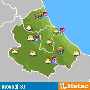 Previsioni meteo Abruzzo giovedì 30 giugno