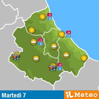 Previsioni meteo Abruzzo martedì 7 Giugno