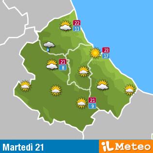 Previsioni meteo in Abruzzo del 21 giugno