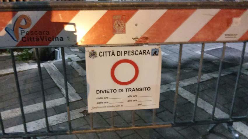 Pescara Novara strade chiuse e sicurezza rafforzata
