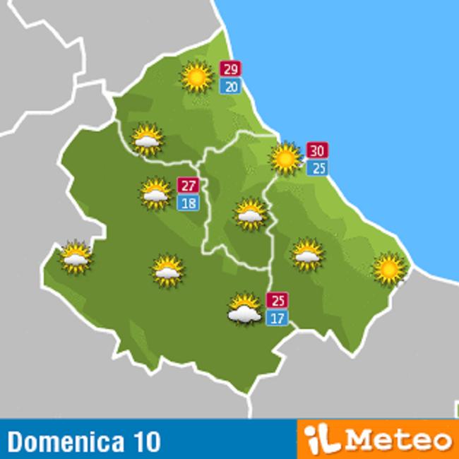 Previsioni meteo Abruzzo domenica 10 luglio