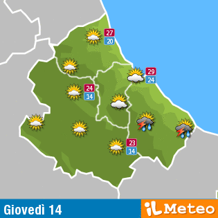 Previsioni meteo Abruzzo giovedì 14 luglio