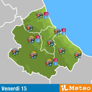 Previsioni meteo Abruzzo venerdì 15 Luglio
