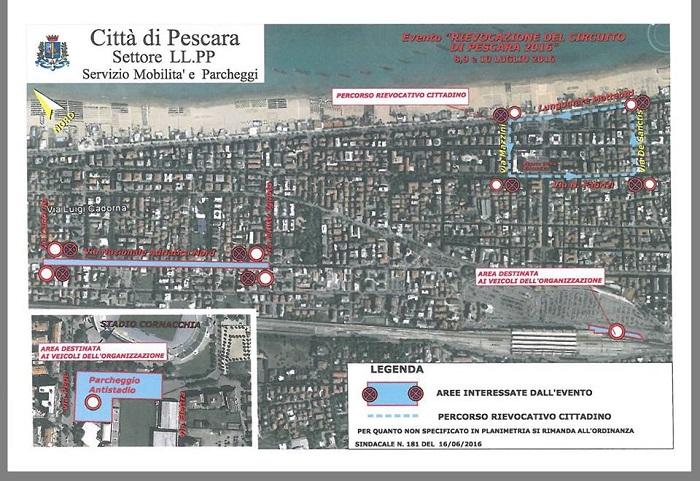 Da oggi il Circuito di Pescara: strade chiuse, divieti