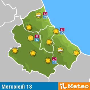 Previsioni meteo Abruzzo mercoledì 13 luglio