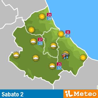 Previsioni meteo Abruzzo sabato 2 Luglio