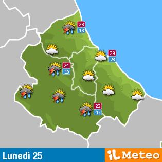 Previsioni meteo Abruzzo lunedì 25 Luglio