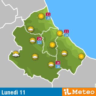 Previsioni meteo in Abruzzo lunedì 11 luglio