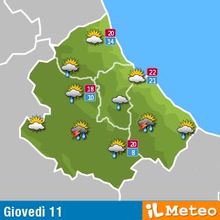 Previsioni meteo Abruzzo giovedì 11 agosto