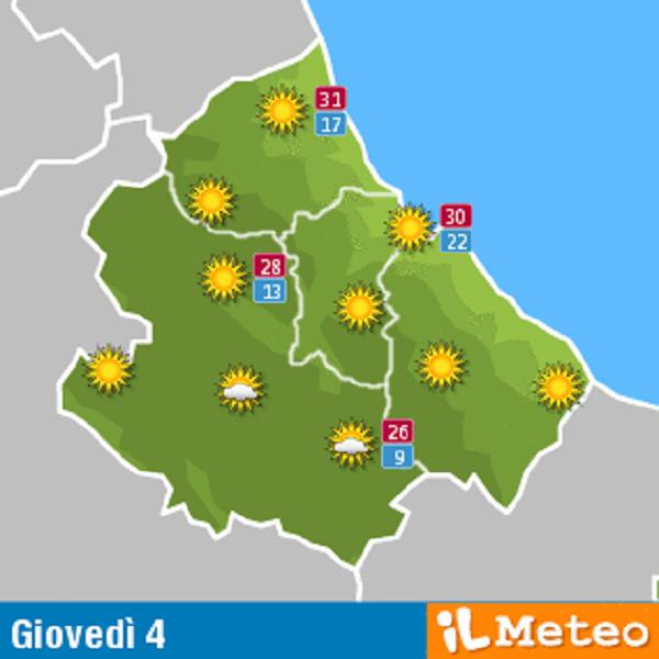 Previsioni meteo Abruzzo giovedì 4 agosto