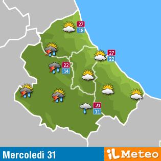 Previsioni meteo Abruzzo Mercoledì 31 agosto