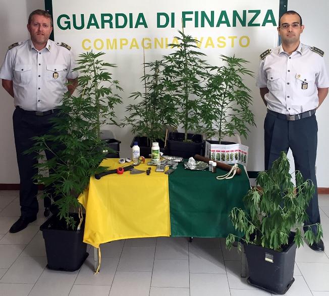 San Salvo, marijuana coltivata sul balcone. 2 denunce della GDF
