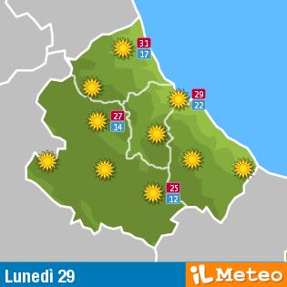 Previsioni meteo Abruzzo lunedì 29 Agosto