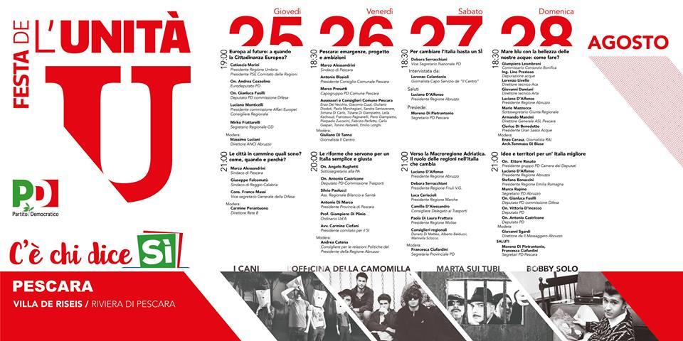 Pescara: dal 25 al 28 la Festa dell'Unità