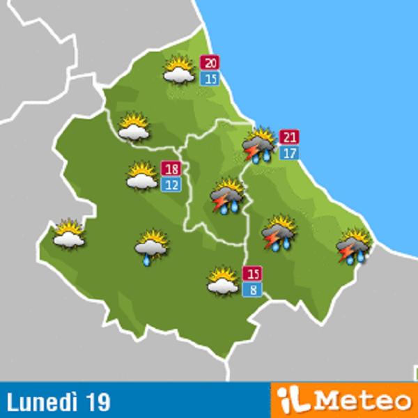 Previsioni meteo Abruzzo lunedì 19 settembre