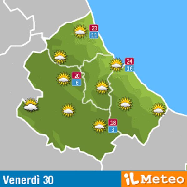 Previsioni meteo Abruzzo venerdì 30 settembre