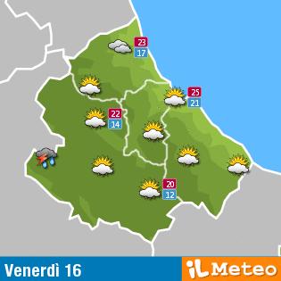 Previsioni meteo Abruzzo venerdì 16 settembre