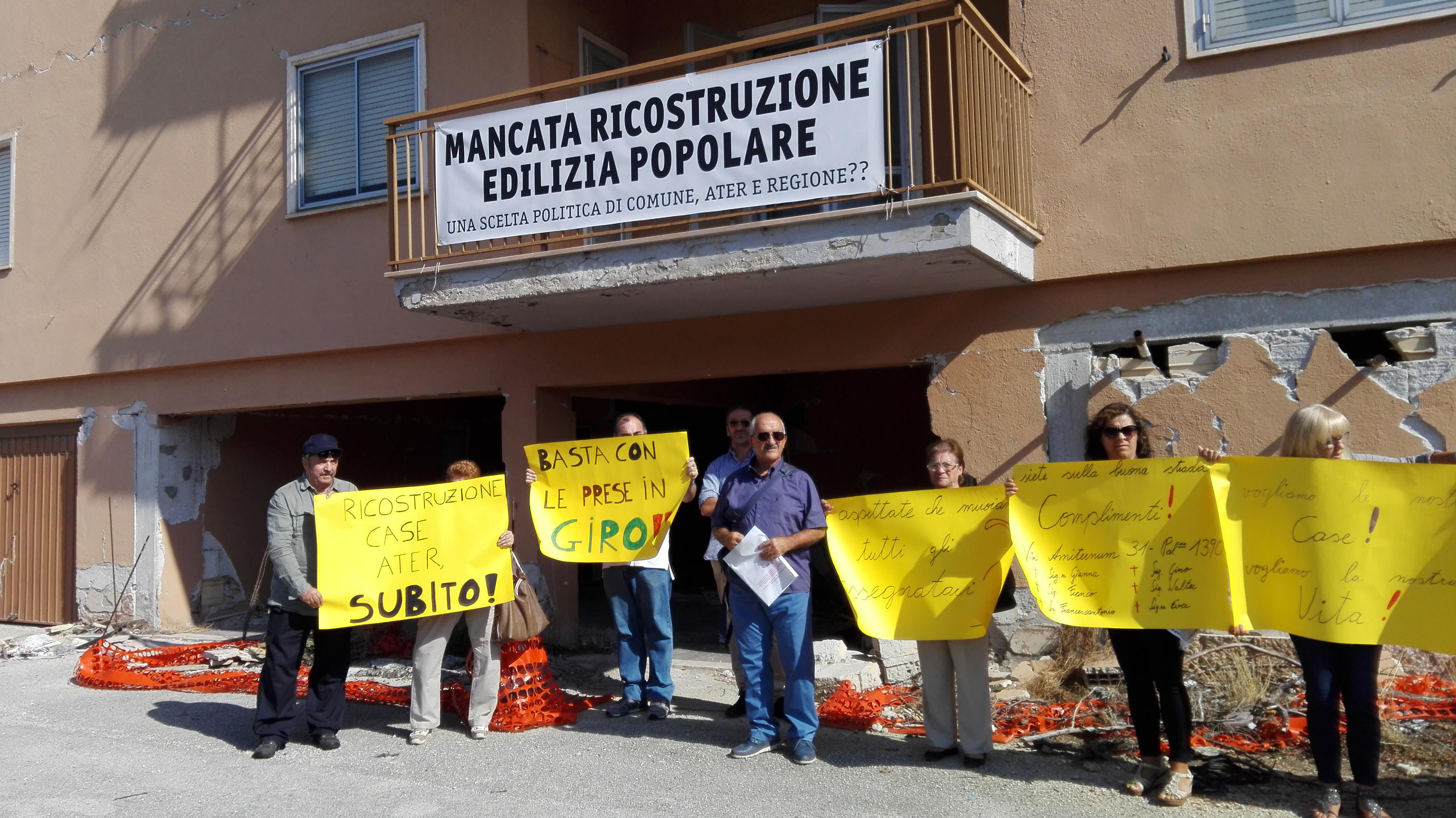 L'Aquila, case Ater: parte la protesta a oltranza degli inquilini