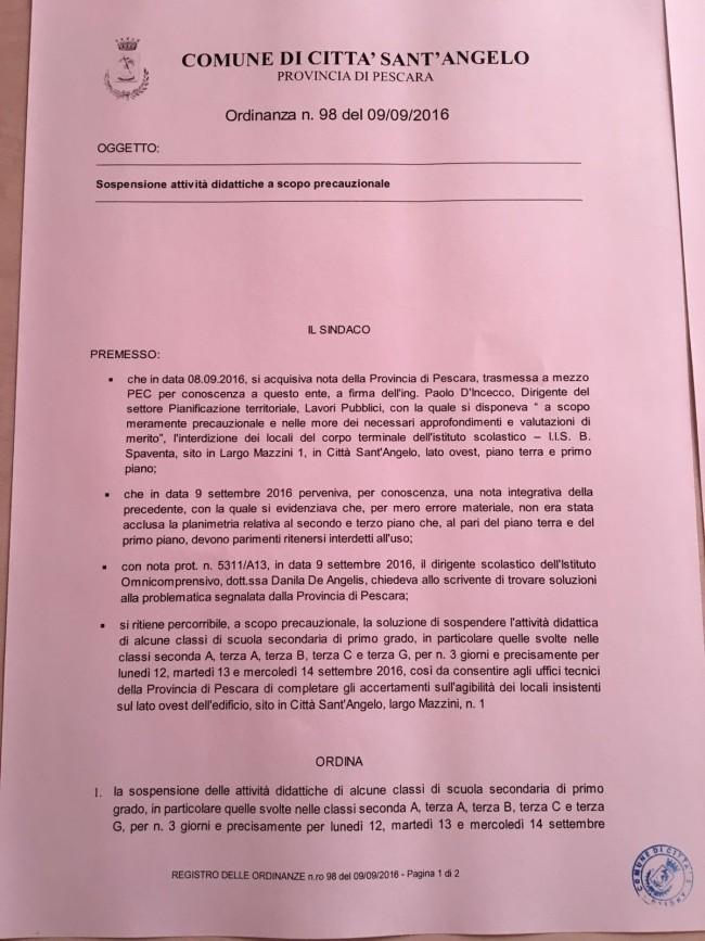 Scuole a Città S.Angelo: Apertura slittata solo per 5 classi