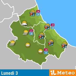 Previsioni meteo Abruzzo Lunedì  3 Ottobre 2016