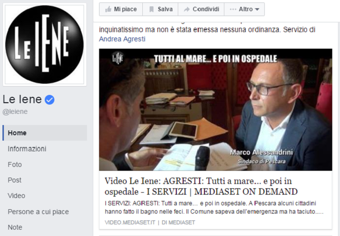 """Pescara: il mare inquinato finisce sulle """"Iene"""" (Video)"""