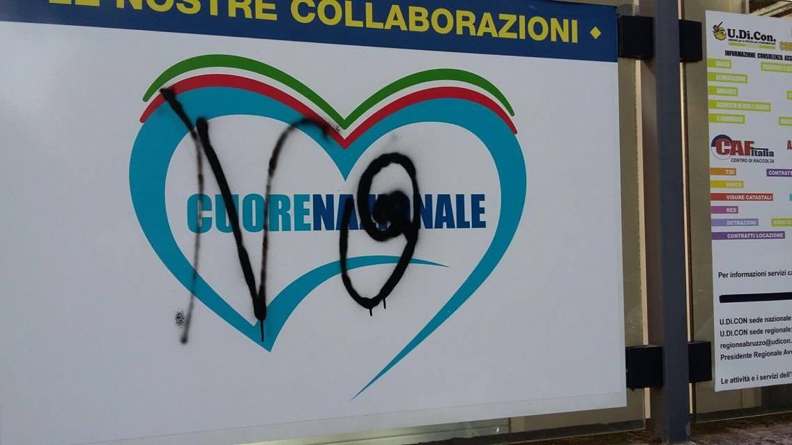 Pescara: imbrattato il simbolo di Cuore Nazionale