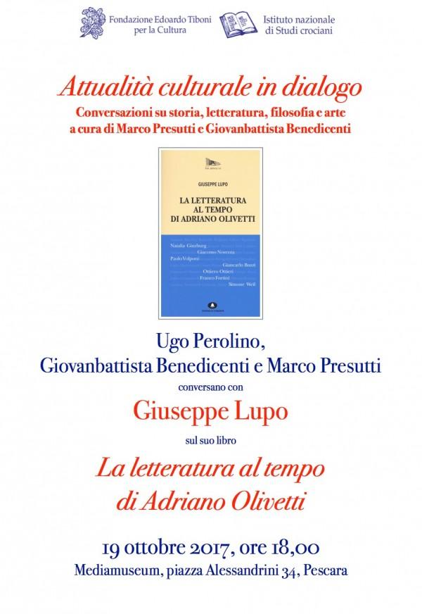 Pescara: conferenza con Giuseppe Lupo