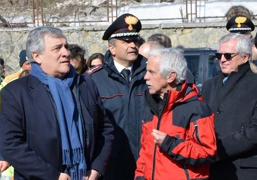 "Tajani a L'Aquila, ""L'Europa vi è vicina"""