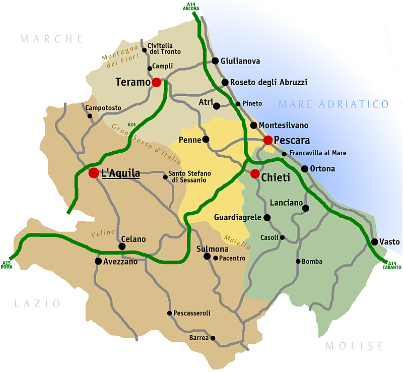 Cartina Della Regione Abruzzo.Covid L Abruzzo Attende Il Suo Colore