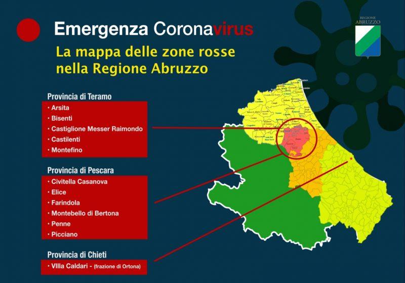 Cartina Della Regione Abruzzo.Coronavirus Abruzzo La Mappa Delle Zone Rosse Rete8